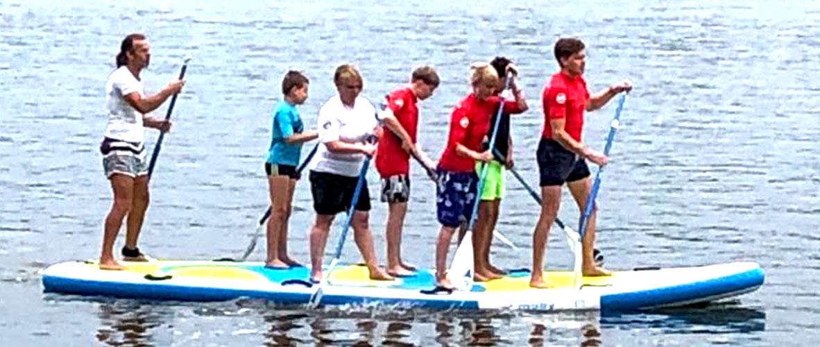 Stand Up Paddling auf dem Big Board mit bis zu 8 Personen